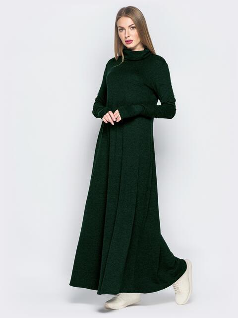 Зеленое платье с рукавами-митенками и объёмным воротником 51070, фото 1