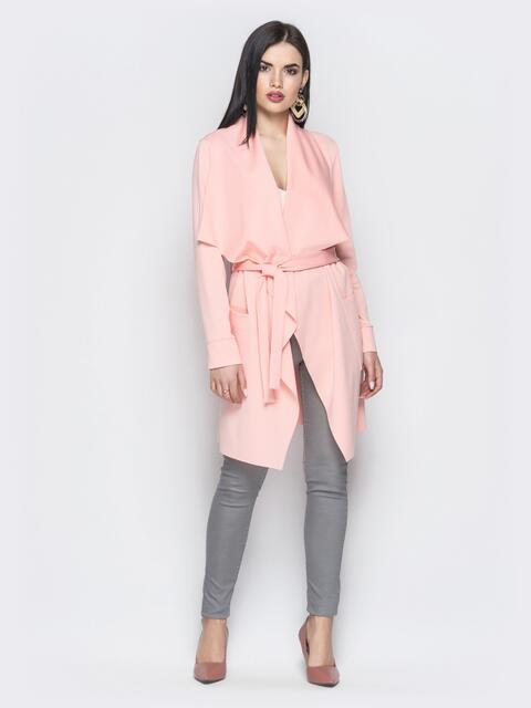 Асимметричный кардиган с накладными карманами персиковый - 22172, фото 1 – интернет-магазин Dressa