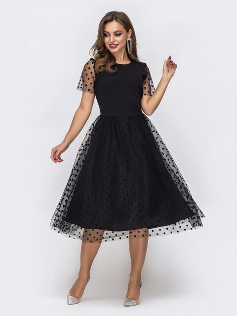 Чёрное платье с юбкой и рукавами из фатина в горох 43065, фото 1