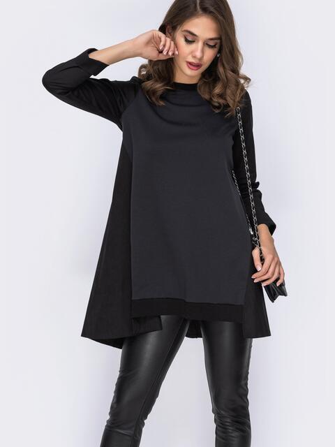 Кофта чёрного цвета с удлененной спинкой - 42503, фото 1 – интернет-магазин Dressa