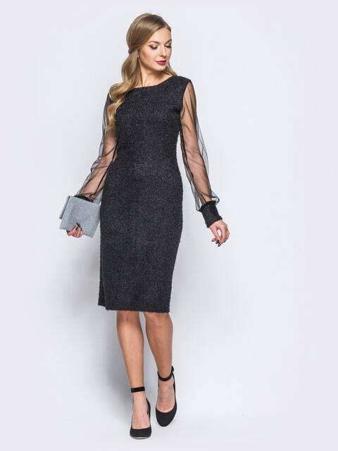 """Платье из трикотажа """"травка"""" с фатиновыми рукавами черное - 18154, фото 1 – интернет-магазин Dressa"""