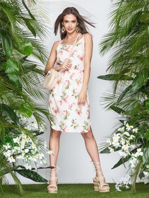 Платье на узких бретелях с цветочным принтом персиковое - 21608, фото 1 – интернет-магазин Dressa