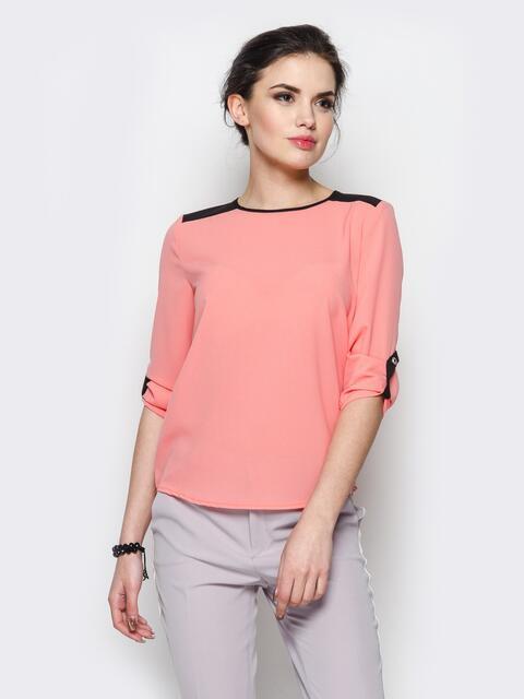Розовая блузка с удлиненной спинкой и контрастными шлёвками - 10138, фото 1 – интернет-магазин Dressa
