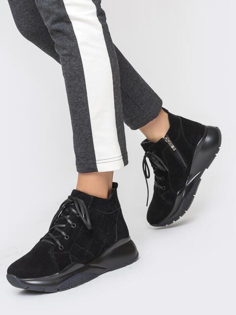 Зимние ботинки из замши на массивной подошве чёрные - 41640, фото 1 – интернет-магазин Dressa