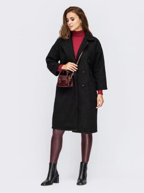 Двубортное пальто из букле черного цвета с лацканами 55278, фото 1