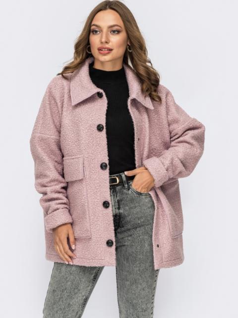 Короткое пальто из букле без подкладки розовое 55279, фото 1
