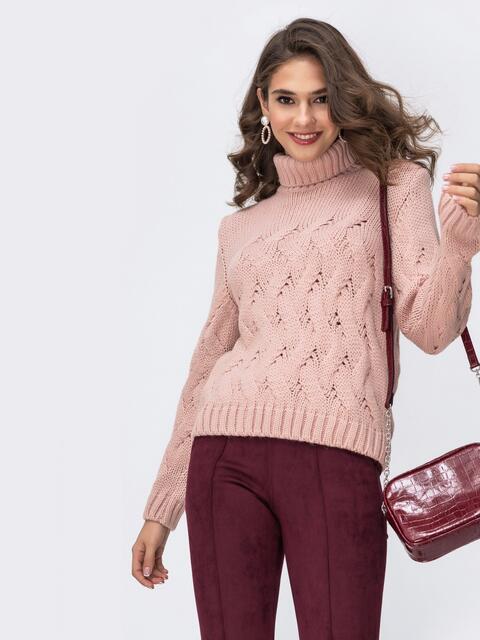 Ажурный свитер с высоким воротником и манжетами розовый 42046, фото 1