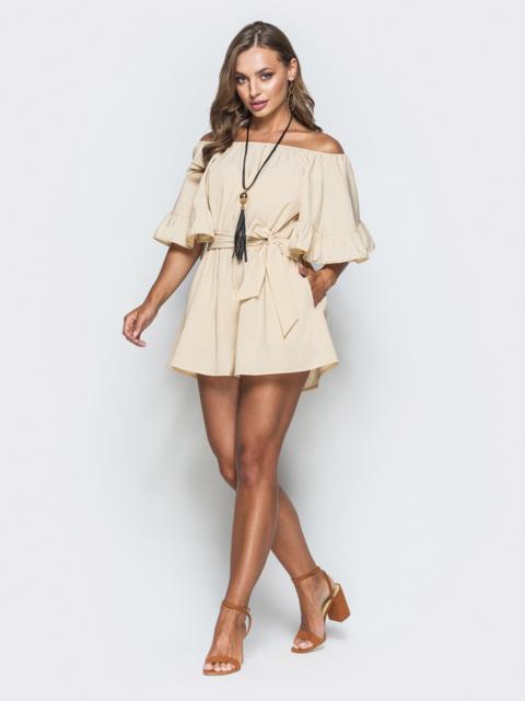 Бежевый комбинезон с открытыми плечами и юбкой-шорты - 38722, фото 1 – интернет-магазин Dressa