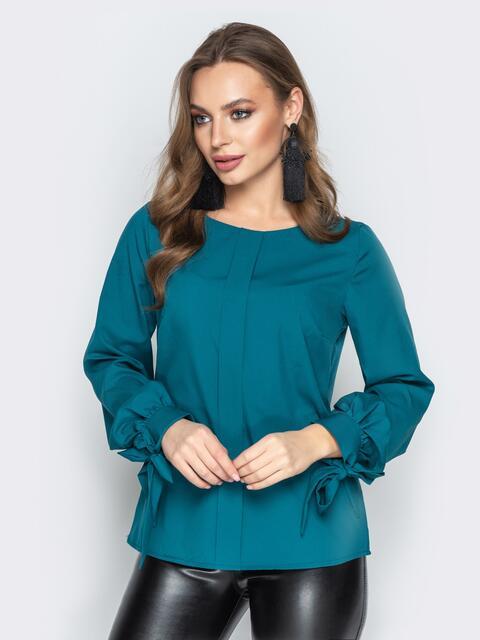 Бирюзовая блузка с бантами на манжетах - 20201, фото 1 – интернет-магазин Dressa