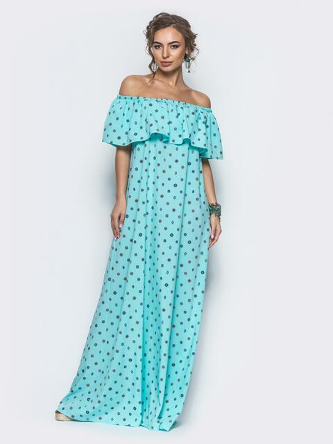 Бирюзовое платье в пол с широким воланом - 12572, фото 2 – интернет-магазин Dressa