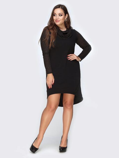 Черное платье из ангоры с удлиненной спинкой - 19163, фото 1 – интернет-магазин Dressa