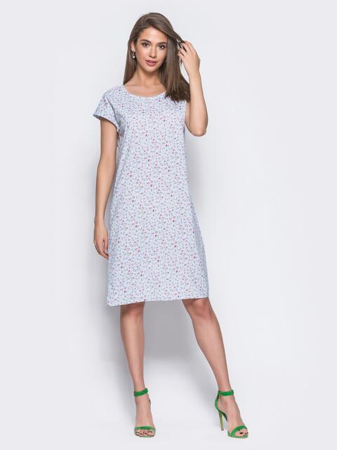 Голубое платье свободного кроя с цветочным принтом - 11334, фото 2 – интернет-магазин Dressa