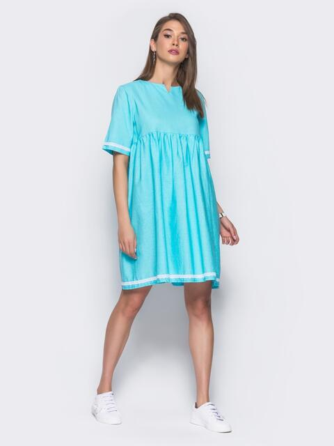 Льняное платье в стиле oversize голубое - 11327, фото 2 – интернет-магазин Dressa