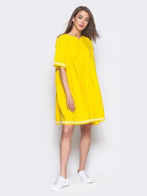 Льняное платье в стиле oversize желтое - 11328, фото 2 – интернет-магазин Dressa