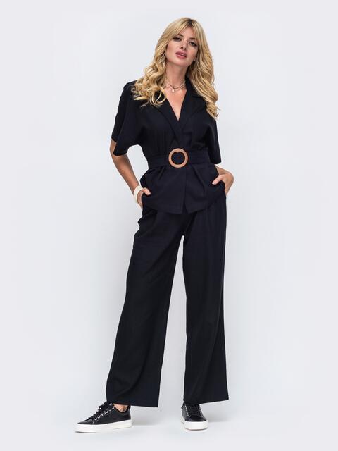 Льняной костюм из жакета и брюк-клеш чёрный 50144, фото 1