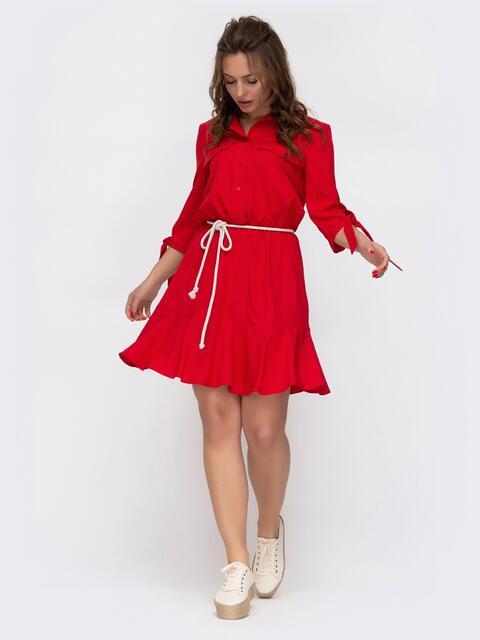 Платье-мини с рубашечным верхом красное 46687, фото 1