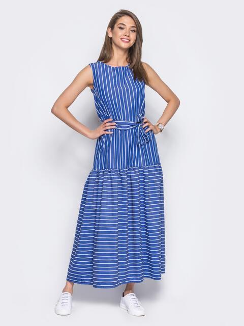 Платье с воланом по низу в синюю полоску - 11321, фото 2 – интернет-магазин Dressa