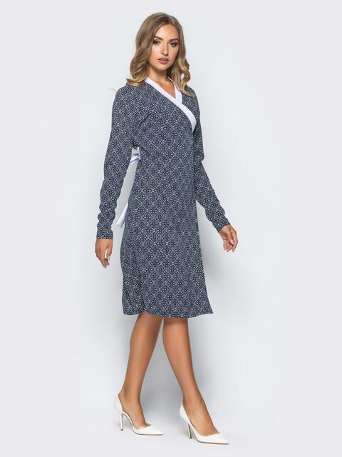 Платье с запахом и контрастным кантом по горловине темно-серое - 16242, фото 1 – интернет-магазин Dressa