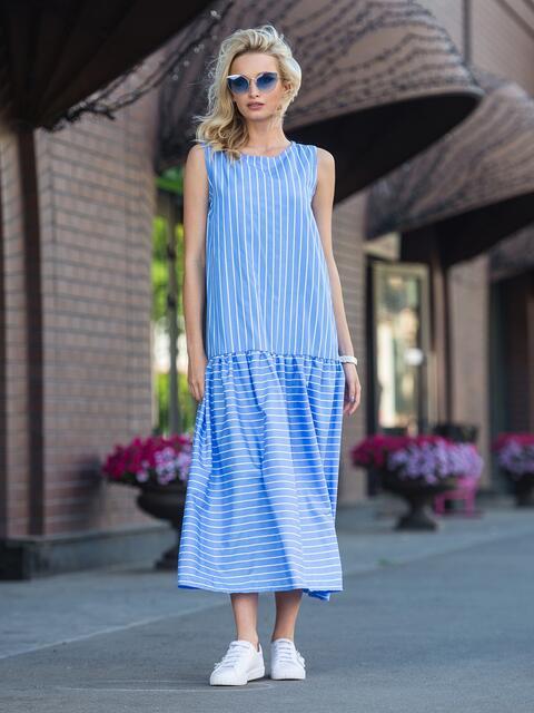 Платье в с воланом по низу в голубую полоску - 11322, фото 3 – интернет-магазин Dressa