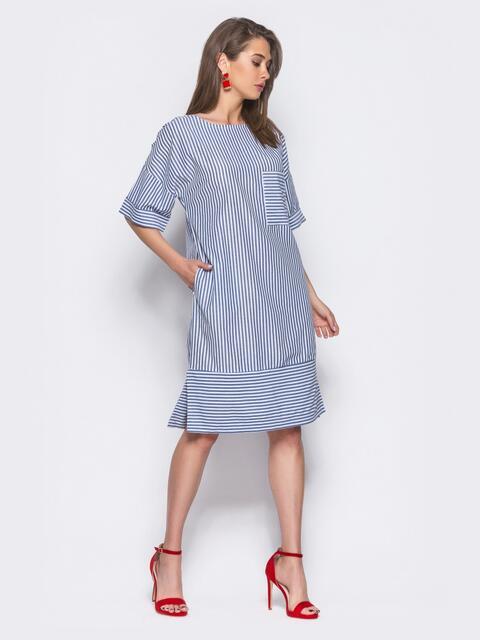 Платье в серую полоску с карманами в боковых швах и на полочке - 11330, фото 2 – интернет-магазин Dressa