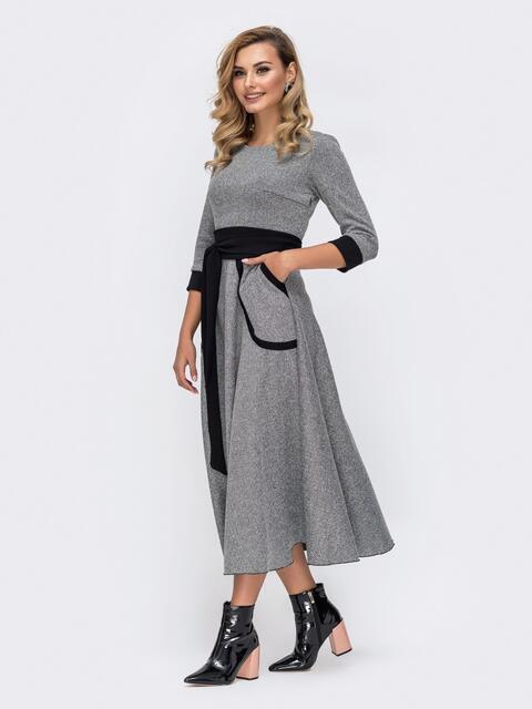 Приталенное платье серого цвета с контрастными вставками - 42084, фото 1 – интернет-магазин Dressa