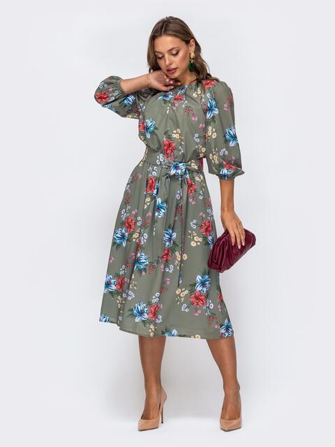 Расклешенное платье-миди с цветочным принтом хаки 50139, фото 1