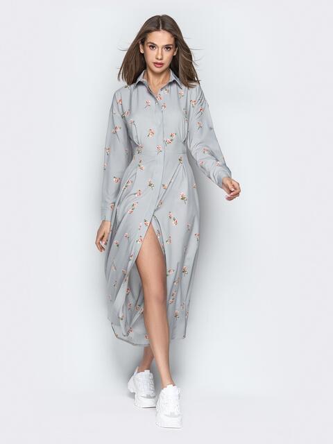 Серое платье на пуговицах с отложным воротником - 21269, фото 1 – интернет-магазин Dressa