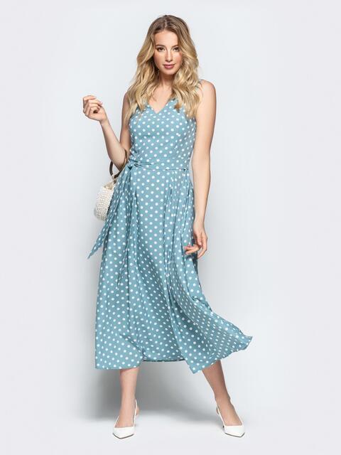 0201c2f6a4d Силуэтное платье в горох мятного цвета 22334 – купить в Киеве ...