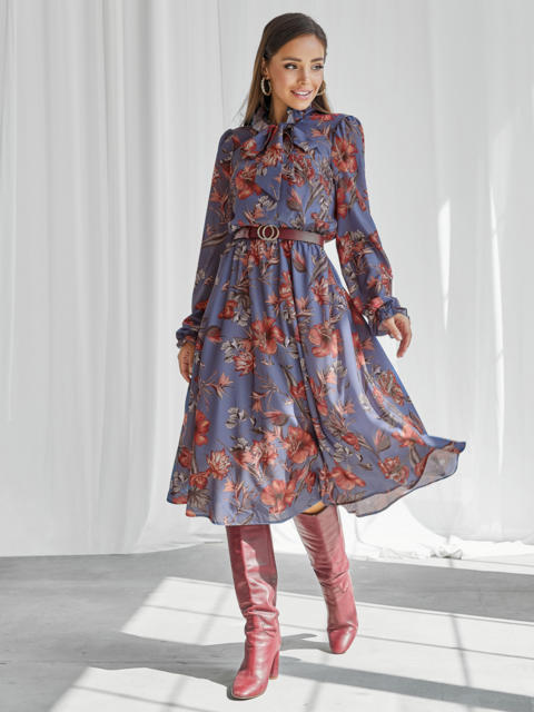 Синее платье с принтом и воротником-аскот 50146, фото 1