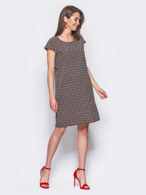 Тёмно-синее платье свободного кроя с оригинальным принтом - 11333, фото 2 – интернет-магазин Dressa