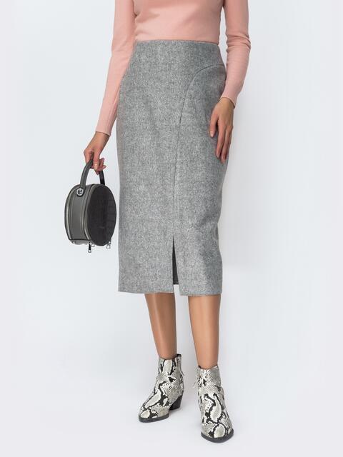 Тёплая юбка-миди серого цвета с разрезом 42098, фото 1