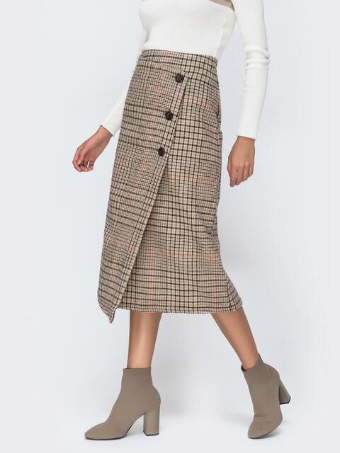 Тёплая юбка в клетку с асимметичным низом коричневая 42099, фото 1