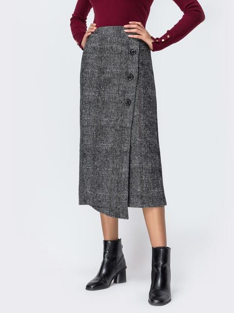 Тёплая юбка в клетку с асимметичным низом серая 42100, фото 1
