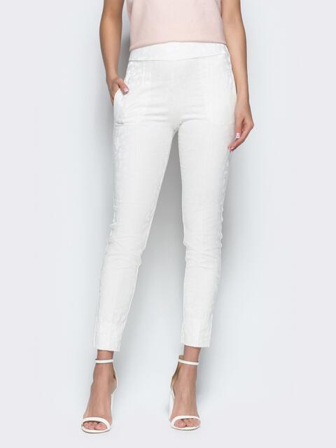 Укороченные брюки-дудочки из костюмной ткани белые - 38977, фото 1 – интернет-магазин Dressa