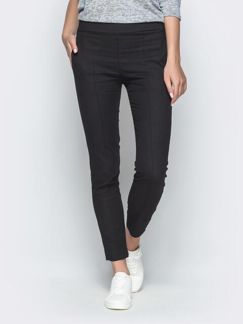 Укороченные брюки-дудочки из льна чёрные - 38976, фото 1 – интернет-магазин Dressa