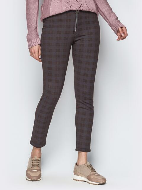 Укороченные лосины коричневого цвета с функциональной молнией - 17734, фото 1 – интернет-магазин Dressa