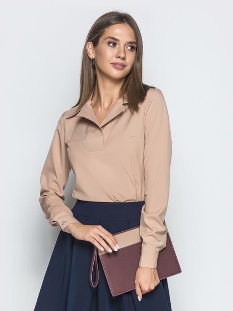 Бежевая блузка из софта с отложным воротником - 39932, фото 1 – интернет-магазин Dressa