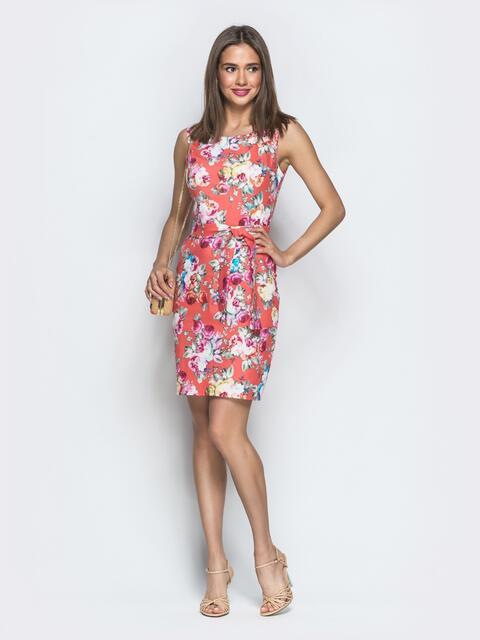 6cb9857a7439061 Коралловое платье-футляр с цветочным принтом - 39204, фото 1 –  интернет-магазин