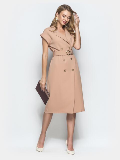 Платье-пиджак бежевого цвета с поясом - 40007, фото 1 – интернет-магазин Dressa