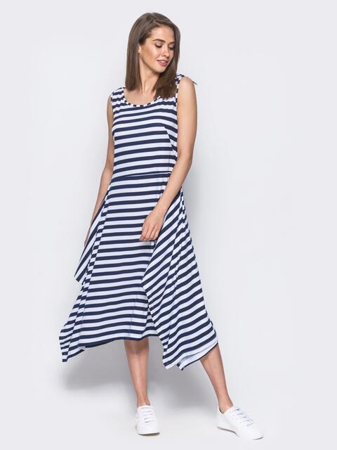 Платье в полоску с расклешенным низом черное 11643, фото 1