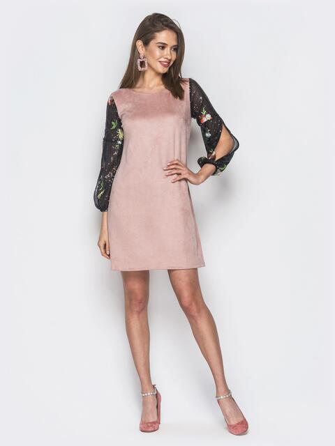Розовое платье А-силуэта из замша - 19133, фото 1 – интернет-магазин Dressa