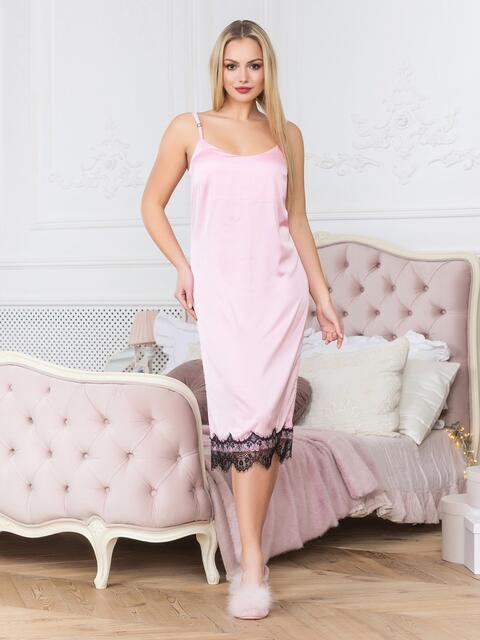 Шелковая ночная рубашка пудрового цвета - 18982, фото 1 – интернет-магазин Dressa