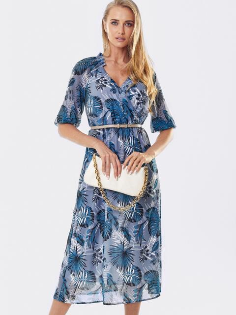 Шифоновое платье с принтом и запахом на груди серое 53461, фото 1