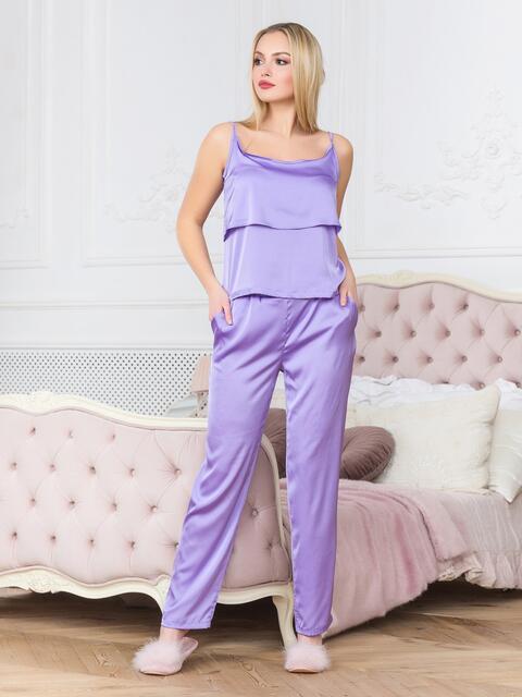 Сиреневая пижама с воланом на топе и брюками - 18934, фото 1 – интернет-магазин Dressa