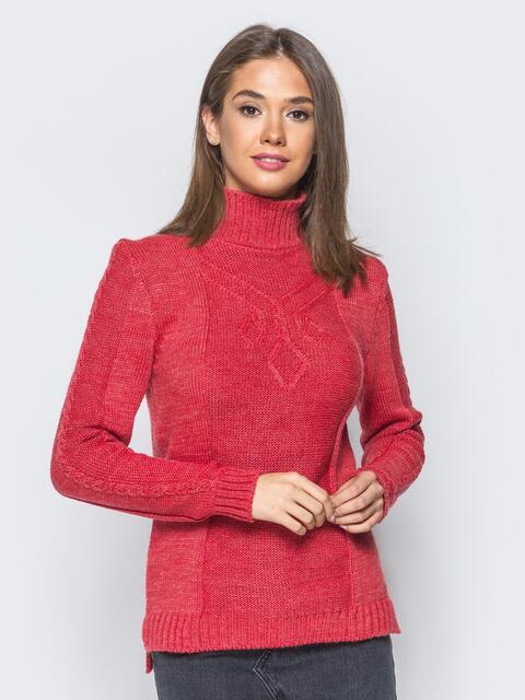Вязаный свитер красного цвета с высоким воротником - 17081, фото 1 – интернет-магазин Dressa