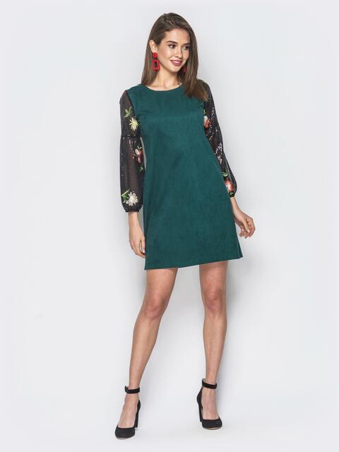 Зеленое платье А-силуэта из замша - 19134, фото 1 – интернет-магазин Dressa