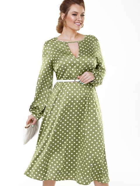 Зеленое платье батал в горошек с расклешенной юбкой 53644, фото 1