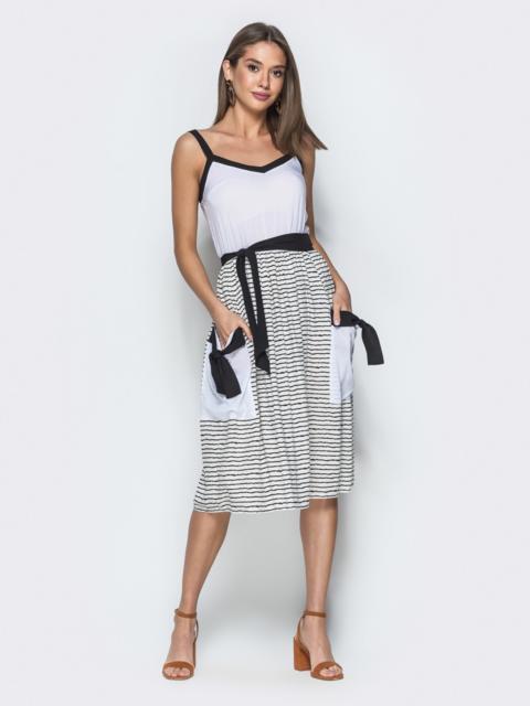 Белый сарафан с контрастной окантовкой и юбкой-клёш в полоску - 38851, фото 1 – интернет-магазин Dressa