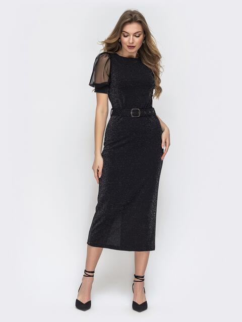 """Чёрное платье с люрексом и рукавами """"фонарик"""" из фатина - 45341, фото 1 – интернет-магазин Dressa"""