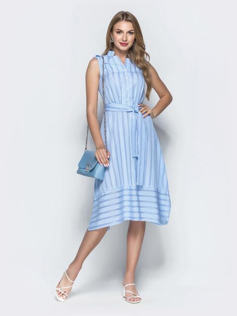 Голубое платье приталенного кроя в клетку 39056, фото 1